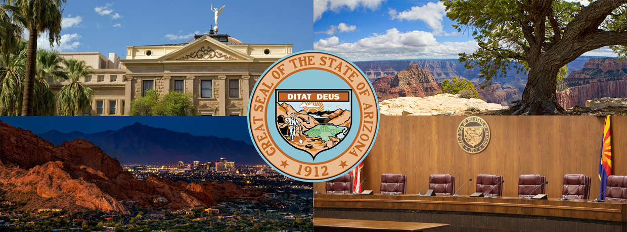 Another header showing pictures of arizona and state buildings, state logo in the middle